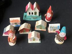 Vintage Japan Small Houses Church Christmas Elves Gnomes Pinecone Pipe Cleaner