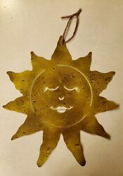 Happy Sun Face Wall Metal Art Hanging with Rustic Finish 15 1 2quot;