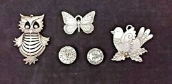 Pewter Ornaments And Button Covers Lot 5 Pieces Owl Butterfly ++ Christmas