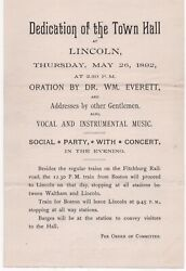 1892 Broadside For The Dedication Of The Town Hall Lincoln, Massachusetts Party