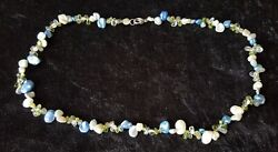 Sterling Silver And Stained Cultured Pearl Vintage Art Deco Antique Necklace