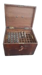 Old Indian Vintage Wooden Hand Crafted Medical Box With 33 Glass Medical Bottles