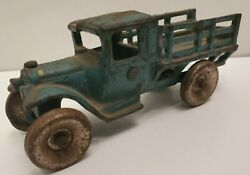 Arcade Cast Iron Model T Stake Truck Blue Vintage No. 213 Solid Wheels 4.75x1.5