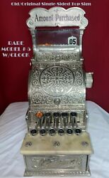 Very Rare Restored Sm Mdl No.5 Brass Natand039l Candy Store Cash Register With Clock