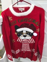 Merry Christmas POOF New York Sweater w Boston Terrier Dog LARGE New w tags