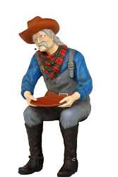 Sitting Gold Panner Western Life Size Statue