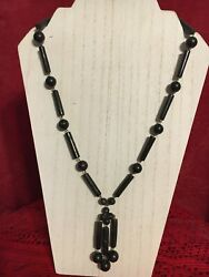 Vintage Early 20th To Mid Century Hawaiian Black Coral Danggling Necklace