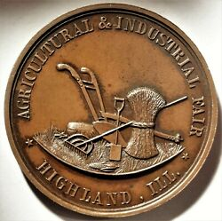 Highland Illinois Agricultural And Industrial Fair Award Medal 50mm Harkness Il-35