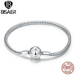 Bisaer S925 Sterling Silver Simple Basic Bracelet Chain Jewelry For Women Grils