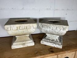Pair Of Heavy White Carrara Marble Pots Urns Interior Display 19th Century