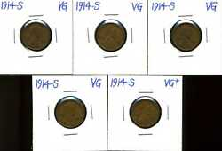 1914-s 1c Lincoln Wheat Cent Lot Of 5 In Vg Condition 01910