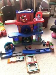 Pj Masks Deluxe Headquarters Hq Playset Figures Launch Ramp Vehicles Extras Lot