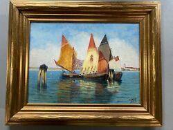 1933 Christian Skov 'summer Day' Bay Of Venice, Italy Oil Painting Impressionist