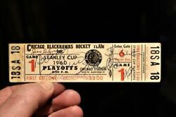 1960 Stanley Cup Signed Full Ticket Chicago Stadium Beliveau Richard Hull Mikita