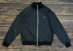 Vintage Fred Perry Pinstriped Full Zip Jacket Mod L Made In Portugal $59.77