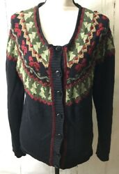 Coldwater Creek Christmas Cardigan Sweater Womens Size Xl Trees Bows Roses