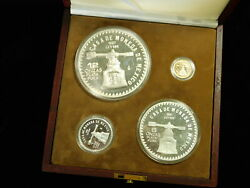 1987 Mexico Mint Salute The Us Constitution 4 Coin Silver And Gold Proof Set