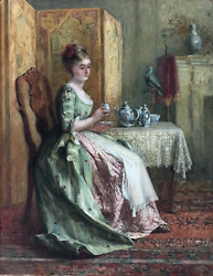 Charles James Lewis 1830 - 1892 Signed Antique Watercolour Reading The Tea