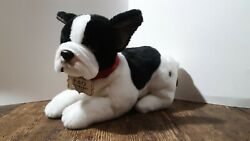 FAO Schwarz French Bulldog White Black Plush Puppy Red Collar 11quot; Very Soft