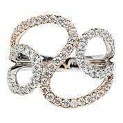 Modern Pave Diamond 18k White Rose Gold Abstract Swirl Band Cocktail Ring 053679