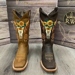 Women's Western Squared Sun Flower Skull Shaft Cowgirl Boots Smooth Leather