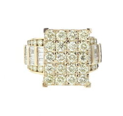 10k Yellow Gold Womens Baguette Wedding Ring With 4.68ctw Diamonds Head Of 15mm