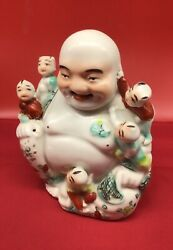 Antique Chinese Famille Rose Laughing Buddha Hotei W 5 Children Porcelain China