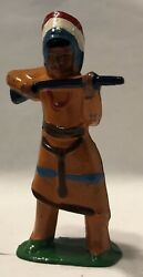 Barclay Lead Toy Soldier Indian Chief, B-099, Manoil Grey Iron