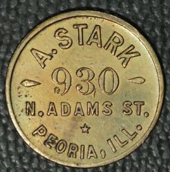 Peoria Illinois Trade Token A. Stark G. F. 5andcent At The Bar R6 C.1904 Saloon