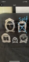 Handmade Real Silver Picture Frames Lot By Persian 5 Pieces.