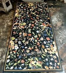 30 X 72 Inches Marble Dinning Table Top Colorful Flower Design Hotel Table Top