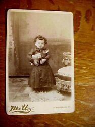 Young Girl Toddler Holding Puppy Dog. Antique Cabinet Card Photo Stroudsburg Pa.