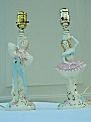 Mid Century German Porcelain Table Lamps Ballerinas Boy And Girl Marked Base Mint