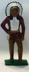 Grey Iron Lead Toy Soldier Indian Chief G-046, Barclay Manoil