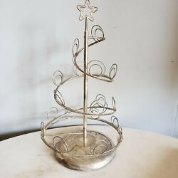 Vintage Silver Plated Card Photo Table Top Metal Christmas Tree