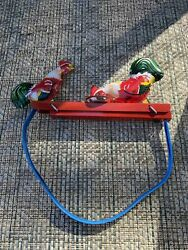 Vintage Mechanical Tin Toy Rooster Manual Pecking Roosters