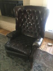 Vintage Chesterfield Leather Tufted Recliner Chair England 1940andrsquos