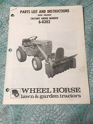 Wheel Horse Snowthrower Model 6-0202 Parts List And Instructions