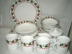 21 Piece Setting For 4 Oneida Winter Wonderland Christmas Dishes Excellent More