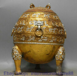 12.4 Old Chinese 24k Gold Silver Dynasty Palace Beast Ear Incense Burner Censer