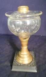 Antique Victorian Dish Top Glass Oil Lamp On A Brass And Cast Iron Base-1870