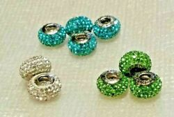 Pandora Ale.925 Sterling Silver Rhinestone Crusted Charm--lime Clear Turquoise