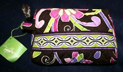 VERA BRADLEY small cosmetic bag quot;Purple Punchquot; brown purple pink print NWT $19.99