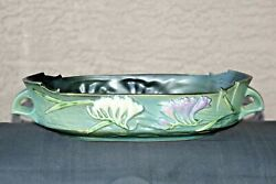 Roseville Pottery 12 Green Freesia Console Bowl 468-12 Made In Usa