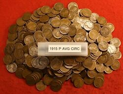 1915-p Lincoln Wheat Cent Penny 50 Coin Roll Great Collector Coins Gift