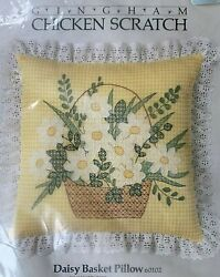 Vintage Something Special YELLOW Gingham CHICKEN SCRATCH Daisy Basket Pillow Kit