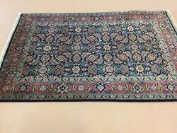 2andrsquo.7andrdquo X 3andrsquo.10andrdquo Navy Blue Rust Fine Geometric Hand Knotted Oriental Area Rug Wool