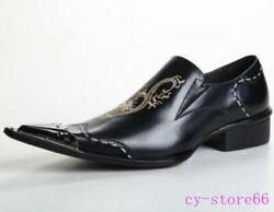 Mens Retro Embroidery Dragon Steel Pointed Toe Slip On Block Club Bar Shoes 2021