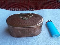 Odd Salesman Sample Arts And Crafts Copper And Brass Tea Caddy Miniature Tin Lined