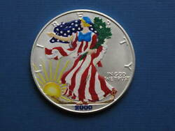 2000 American Silver Eagle Colorized On Two Sides Y2k Walking Liberty Coin .999